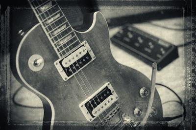 Guitar with Loudspeaker Boxes in the Background, Selective Focus, Polaroid Style