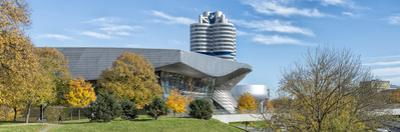 Munich, Bavaria, Germany, View to the Bmw Welt, Museum and Tower, Panorama