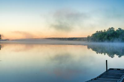 Toddy Pond, Maine with Mist and Wharf by Bert Folsom