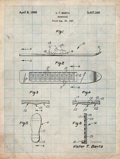 Berta Magnetic Boot Snowboard Patent-Cole Borders-Art Print