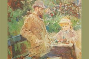 Eugène Manet and His Daughter in Bougival by Berthe Morisot