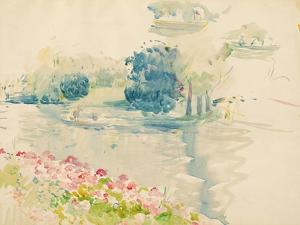 Geraniums by the Lake, 1893 (W/C on Paper) by Berthe Morisot