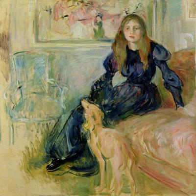 Julie Manet (1878-1966) and Her Greyhound Laerte, 1893 by Berthe Morisot