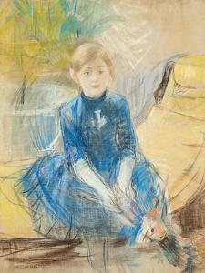 Little Girl with a Blue Jersey, 1886 (Pastel on Canvas) by Berthe Morisot