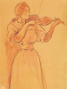 The Violin, 1894 (Pencil and Red Chalk on Paper) by Berthe Morisot