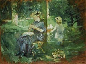 Woman and Child in a Garden, 1884 by Berthe Morisot