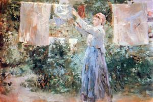 Women Hang Out Laundry to Dry by Berthe Morisot