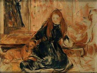 Young Girl Playing with a Dog by Berthe Morisot