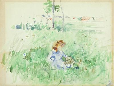 Young Girl Seated on the Lawn, 1882 (W/C on Paper)
