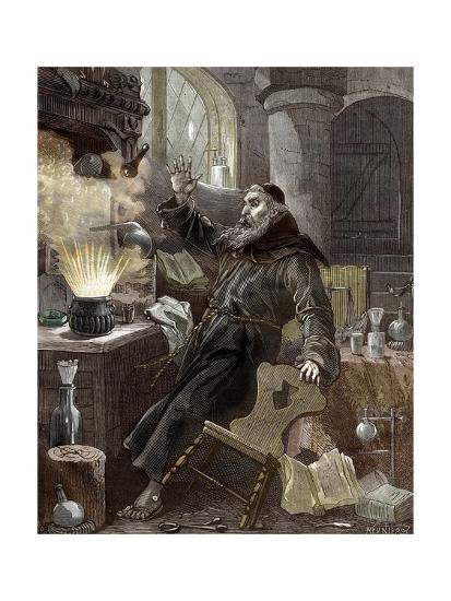 Berthold Schwarz Discovering Gunpowder--Giclee Print