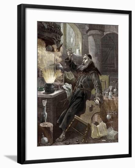 Berthold Schwarz Discovering Gunpowder--Framed Giclee Print
