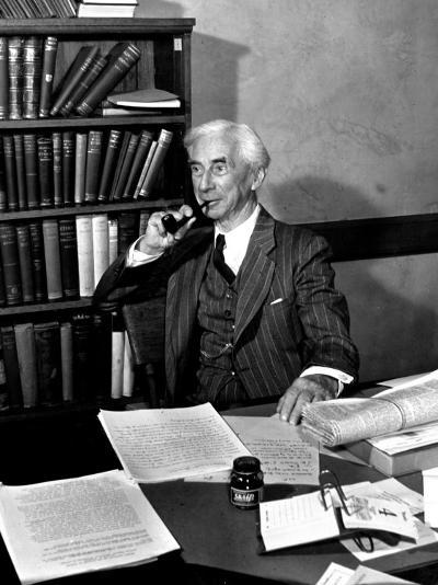 Bertrand Russell Sitting at His Desk at California University at Los Angeles-Peter Stackpole-Photographic Print