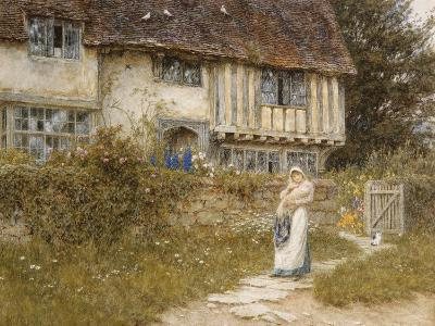 Beside the Old Church Gate Farm, Smarden, Kent (Watercolour with Scratching Out)-Helen Allingham-Giclee Print