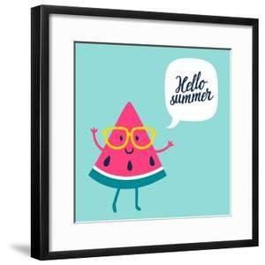 Funny Vector Background with Watermelon Slice in Glasses, Speech Bubble and Hand Written Text Hello by Beskova Ekaterina