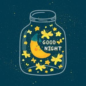 Vector Illustration of Jar with Sleepi?G Smiling Moon in the Nightcap, Butterflies, Stars. Cute Chi by Beskova Ekaterina