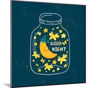 Vector Illustration of Jar with Sleepi?G Smiling Moon in the Nightcap, Butterflies, Stars. Cute Chi by Beskova Ekaterina