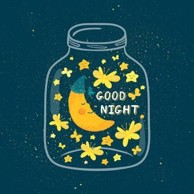 Vector Illustration of Jar with Sleepi?G Smiling Moon in the Nightcap, Butterflies, Stars. Cute Chi