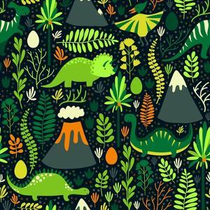 Vector Seamless Pattern with Different Dinosaurs, Floral Elements and Mountains. Cute Hand Drawing by Beskova Ekaterina