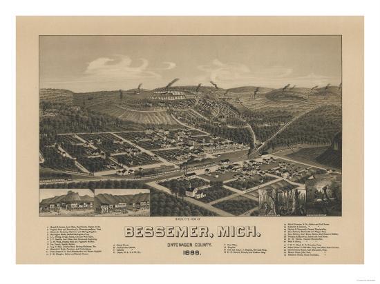 Bessemer, Michigan - Panoramic Map-Lantern Press-Art Print