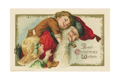 Best Christmas Wishes Postcard with Santa Claus and Children--Giclee Print