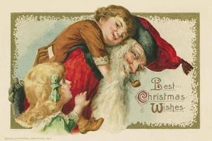 Best Christmas Wishes Postcard with Santa Claus and Children