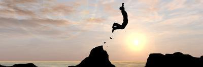 Concept or Conceptual Young Man or Businessman Silhouette Jump Happy from Cliff over Water Gap Suns