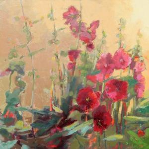 Red Haven Hollyhocks by Beth A^ Forst