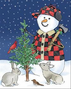 Lodge Snowmen IV by Beth Grove