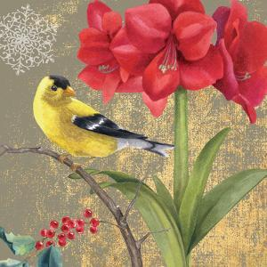Winter Birds Goldfinch Collage by Beth Grove