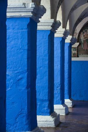 Blue and White Painted Columns in the Monasterio De Santa Catalina by Beth Wald