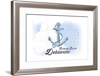 Bethany Beach, Delaware - Anchor - Blue - Coastal Icon-Lantern Press-Framed Art Print
