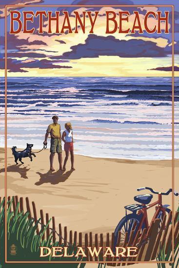 Bethany Beach, Delaware - Beach and Sunset-Lantern Press-Art Print