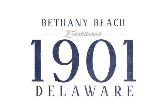 Bethany Beach, Delaware - Established Date (Blue)-Lantern Press-Art Print