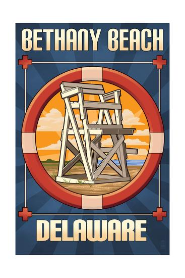 Bethany Beach, Delaware - Lifeguard Chair-Lantern Press-Art Print