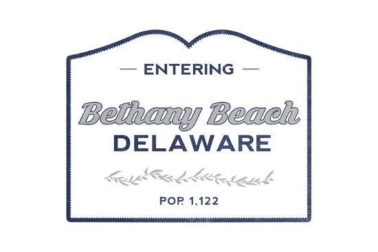 Bethany Beach, Delaware - Now Entering (Blue)-Lantern Press-Art Print