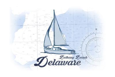 Bethany Beach, Delaware - Sailboat - Blue - Coastal Icon-Lantern Press-Art Print