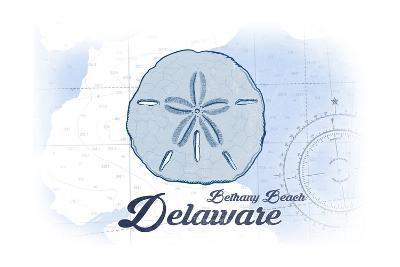 Bethany Beach, Delaware - Sand Dollar - Blue - Coastal Icon-Lantern Press-Art Print