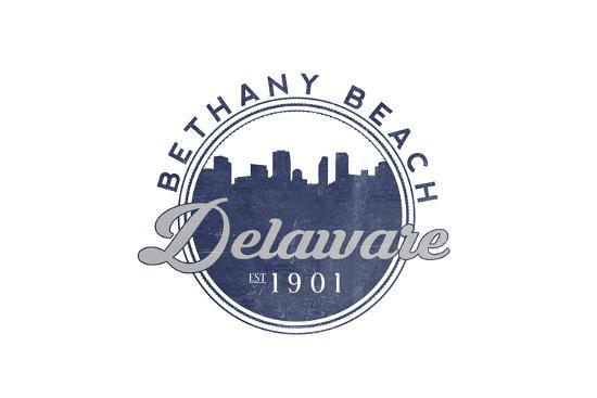 Bethany Beach, Delaware - Skyline Seal (Blue)-Lantern Press-Art Print