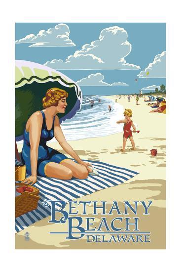 Bethany Beach, Delaware - Woman on Beach-Lantern Press-Art Print