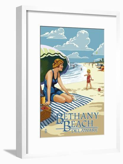 Bethany Beach, Delaware - Woman on Beach-Lantern Press-Framed Art Print