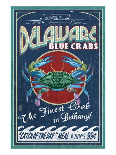 Bethany, Delaware Blue Crabs-Lantern Press-Art Print