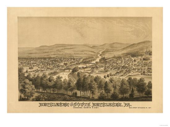 Bethlehem, Pennsylvania - Panoramic Map-Lantern Press-Art Print