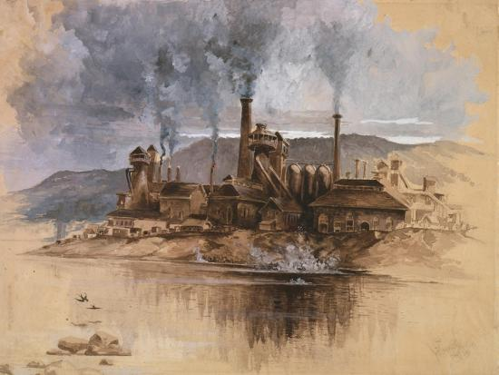 Bethlehem Steel Works in May 1881, Watercolor Painting by Joseph Pennell--Art Print