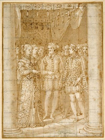Betrothal of Ottaviano Farnese to Margaret of Parma, in the Presence of Henri II of France-Federico Zuccaro-Giclee Print