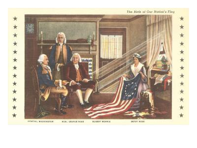 Betsy Ross and Birth of the Flag--Art Print