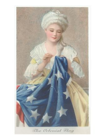 photo regarding Betsy Ross Printable Pictures referred to as Betsy Ross Sewing Flag Artwork Print by means of