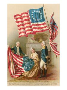 Betsy Ross with First Flag