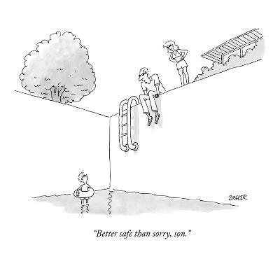 """Better safe than sorry, son."" - New Yorker Cartoon-Jack Ziegler-Premium Giclee Print"