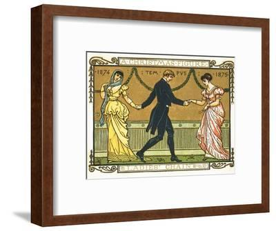 19th-Century Illustration of a Man Dancing Between Two Women