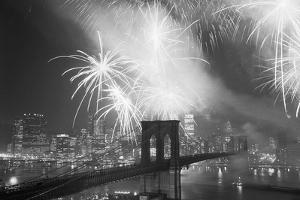 Fireworks over the Brooklyn Bridge by Bettmann